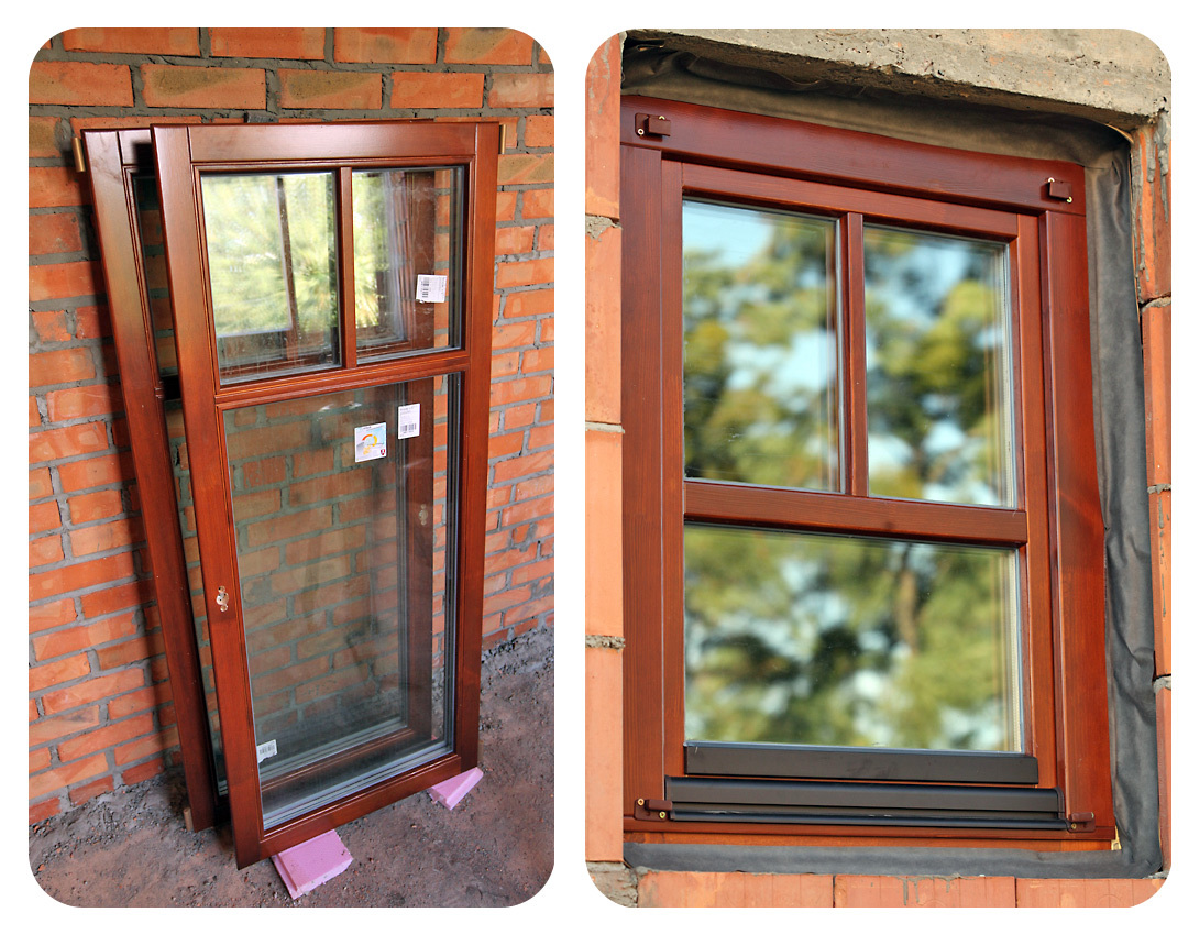 Wooden windows with double glazing